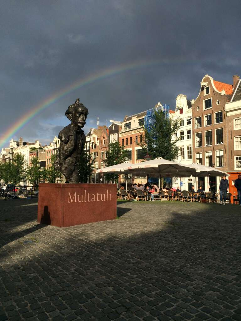 Multatuli Statue and Rainbow Amsterdam